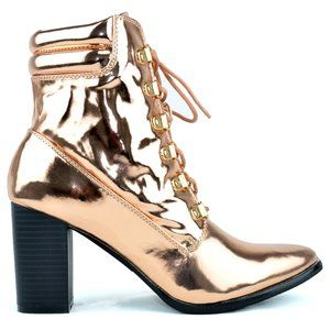 ⭐️ CHASE & CHLOE WOMEN'S ROSE GOLD ANKLE BOOTS